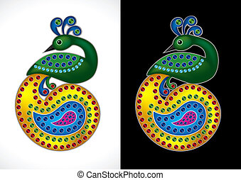 Beautiful Peacock Vector Illustrati - Beautiful and Colorful...