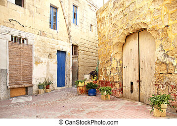 old residential area of valetta malta - alley in old...