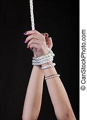 mulher, mãos, contas, ligamento, corda