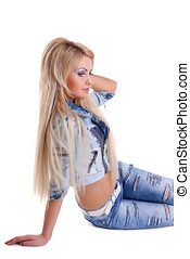 Beauty sexy blond girl  in jeans jacket