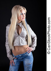 Beauty sexy blonde in leather jacket and jeans - Beauty sexy...