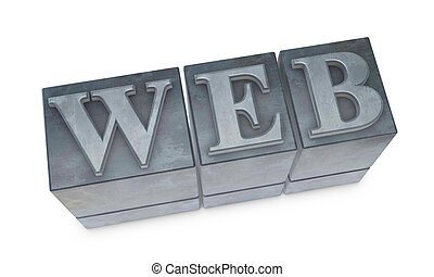 "movable type - the word ""WEB"" made with old movable type (3d..."