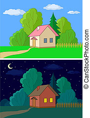 Houses on forest edge - Landscape, vector, country houses on...