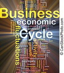 Business cycle background concept glowing
