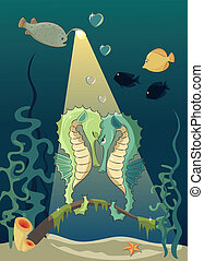 Sea love - Two seahorses on the rendezvous. Cartoon style,...