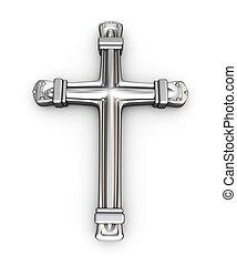 argento, croce, sopra, bianco