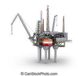 perfurar, offshore, plataforma, isolado