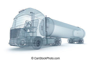 Oil truck with cargo container, wire model My own design
