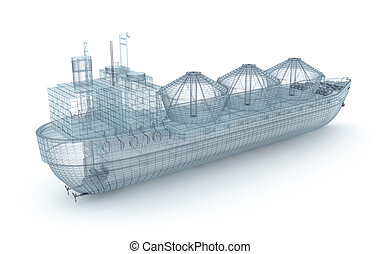 Oil tanker ship wire model isolated on white My own design