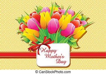 Happy Mothers Day Card - illustration of bunch of tulip with...