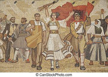 albański, nacjonalistyczny, ścienny, tirana, Albania