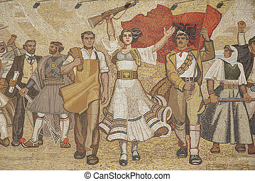 albanian nationalistic mural in tirana albania - albanian...
