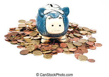 blue piggy bank in coins V2 - a blue piggy bank standing in...