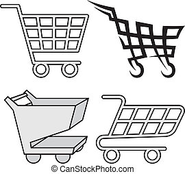 Shopping cart icons - Four black and gray shopping cart...