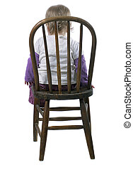 Girl in Time Out - Little Girl Sitting in a Time Out Chair
