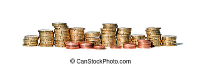 Panorama of coin piles on white background