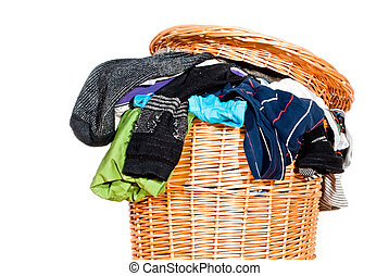 full laundry basket V1 - a laundry basket fully with laundry...