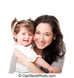 Happy mother baby daughter family - Beautiful happy smiling...