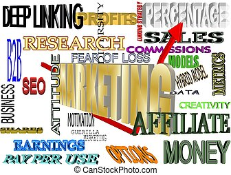MARKETING BACKGROUND IN 3D - background of marketing terms...