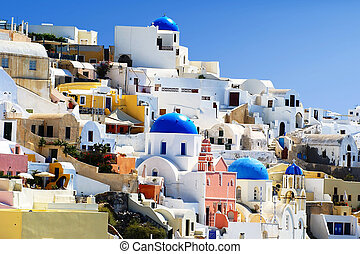 Traditional village at Santorini - Traditional village of...