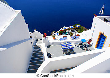 Santorini island at Greece - Traditional village of Thira at...