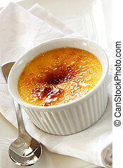 Creme Brulee - Traditional French vanilla cream dessert with...