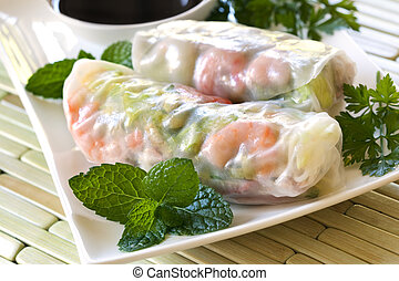 Rice Paper Rolls - Vietnamese rice paper rolls with prawns,...