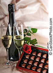 champagne and red rose - Heart shape chocolate, champagne...