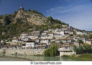 berat in albania - view of berat historic museum town in...