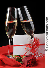 champagne and letter - beautiful rose, champagne and letter...