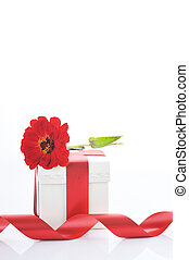 giftbox and red flower close up