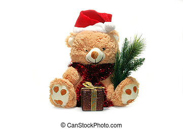 Christmas toy bear with red hat