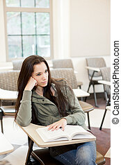 Ethnic college student studying