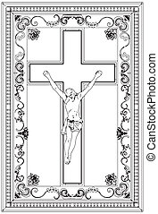 Jesus Christ Crucifix Ornamental Frame Relief Vector