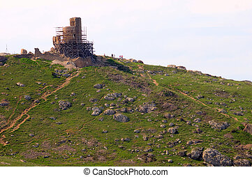 Old Ruins of Genoese Fortification in Balaklava, Ukraine,...