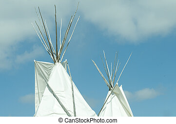 Tepee - Traditional style Native American Tepee, against...
