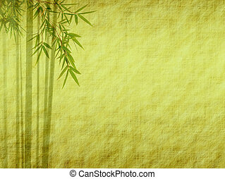 Silhouette of branches of a bamboo on paper background