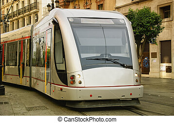 Railway - Modern urban railway in the city of Seville, Spain