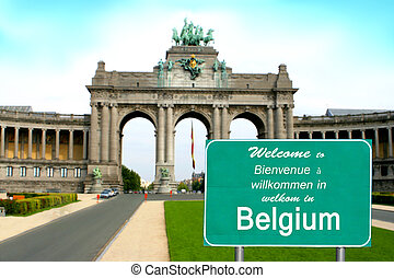 Welcome to Belgium sign in different languages showing...