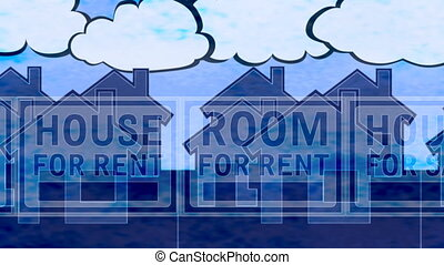 House Sale Rent Loop Backdrop blue - House Sale Rent Looping...