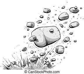 Exploding Rock - Cartoon rock explodes from the ground.