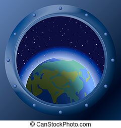 Window with planets mother Earth - Spaceship window porthole...