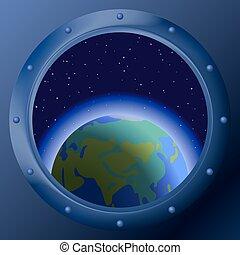 Janela, planetas, mãe, terra