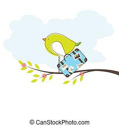 Bird on tree. Vector Illuatration