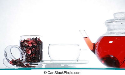 Woman take  red Hibiscus tea