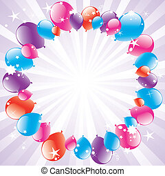 vector festive balloons and light-burst