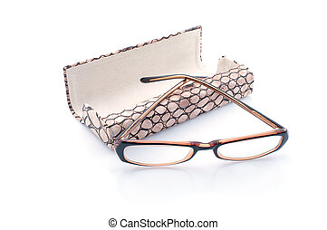 Glasses and case on white background