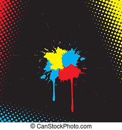 vector watercolor abstract on black background