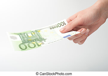 Close-up Euro banknote in hand - Close-up of Euro banknote...