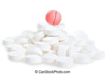 white tablets  scattered on  table